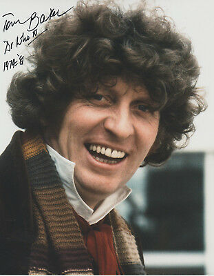 Tom Baker The 4Th Doctor Signed 8X10 Color Photo Bbc Dr. Who Autograph
