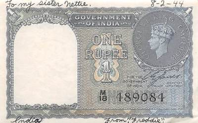 India  1  Rupee  1940  Series M/18  Kg. G. VI  Circulated Banknote WKM