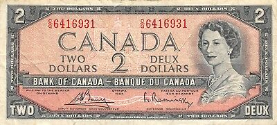 Canada  $2   1954  Series  C/G  Que. II  Circulated Banknote