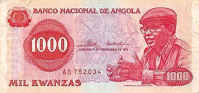 Angola 1000 Kwanzas  11.11.1976  Prefix A circulated Banknote , G. WM2