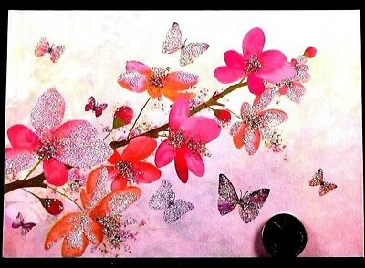 PAPYRUS Butterflies Blossoms Flowers *GLITTERED* Blank Note Greeting Card - NEW