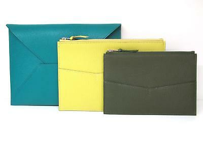 Auth HERMES Envelope trio duo pouch Chevre leather Green Yellow Black