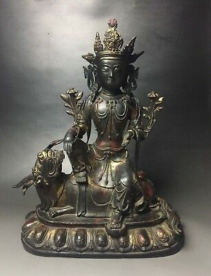 """Rare Chinese bronze solid buddha statue with """"Qianlong"""" marked"""