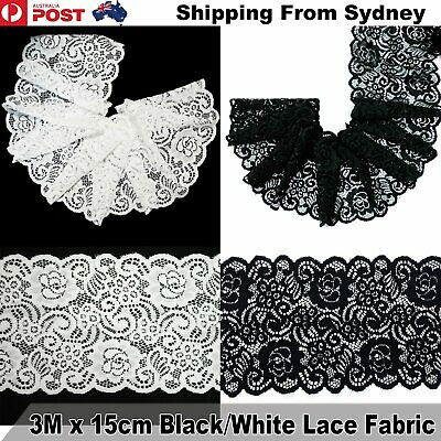 3M X 15cm Lace Fabric Black White Trim DIY Craft Polyester Cotten Cloth Flower