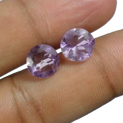 9x5mm Natural Round Shape Violet Amethyst Pair Loose Gemstone For Earring Use