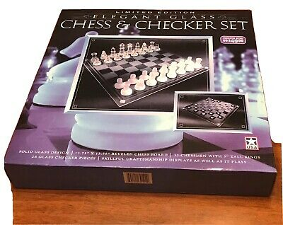 Limited Edition Elegant Glass Chess & Checkers Set New