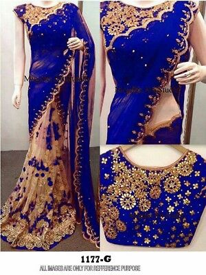 Blue Indian Bollywood Designer Saree Wedding Party Wear Pakistani Net Saree TOP