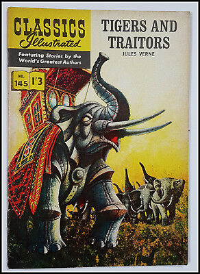 Vintage British Classics Illustrated:TIGERS AND TRAITORS/VERNE No.145 HRN141 1/3