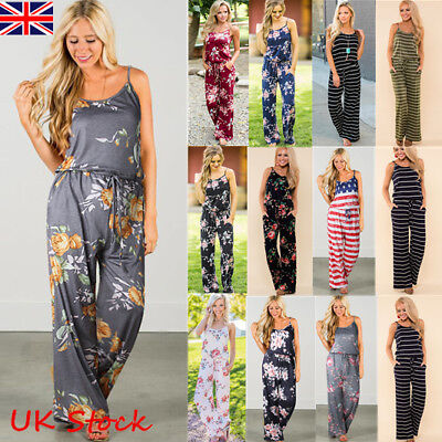 e9c3306eec Plus Size Boho Womens Floral Holiday Long Playsuits Dress Trouser Jumpsuit 6 -20