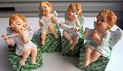 Ceramic 10Cm Set Of 4 Angel Cherub Figurines Playing Musical Instruments Bnib