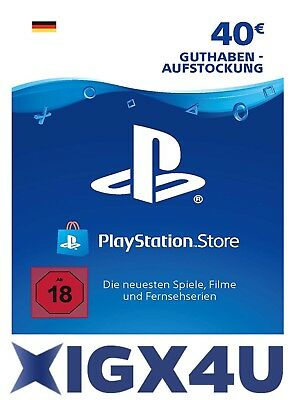 PSN Playstation Network Card Key 40€ 40 EUR EURO Prepaid Card - PS3 PS4 PSP - DE