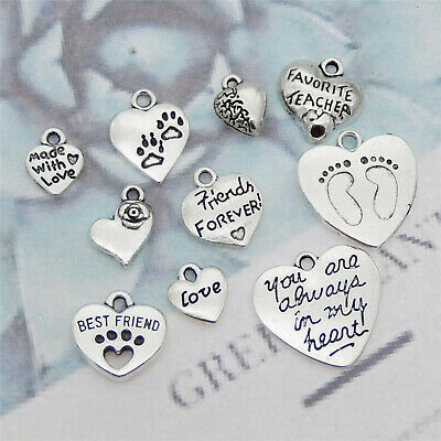 Pack of 10 Multi-style Heart Shaped Charms Pendant DIY Jewellery Making Crafts