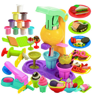 3D Ice Cream Machine Color Light Clay Food Center Diy Plasticine Toys For Kid