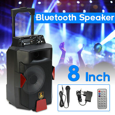 8'' Bluetooth Mic DJ Speaker PA System Power Amplifier TF USB AUX input HOT