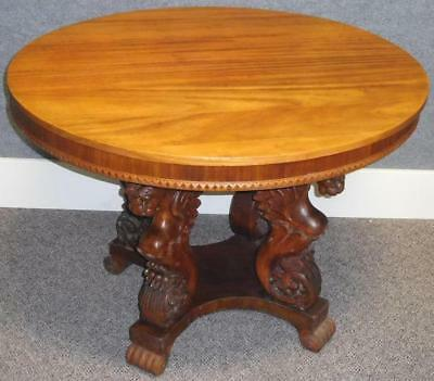 Beautiful Antique c. 1900 Round Mahogany Table w/ Carved Griffin Base Lot 166