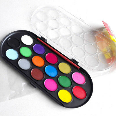16 Colors Solid Watercolor Painting Supplies Box with Paintbrush Tool Kids Gifts