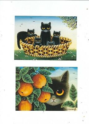 2 Cat Postcards  Artist Style By Anna Hollerrer   Cats In Basket