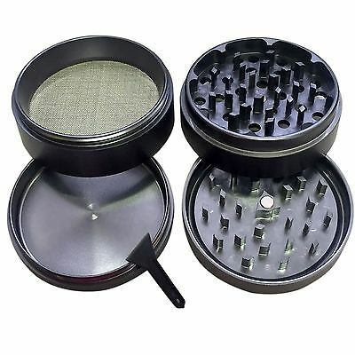 4 Piece Magnetic 2.2 Inch Black Tobacco Herb Grinder Spice Aluminum With Scoop