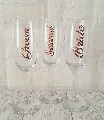 Rose Gold Champagne flutes Personalised Bridesmaid wedding day toast Gift Hen Do