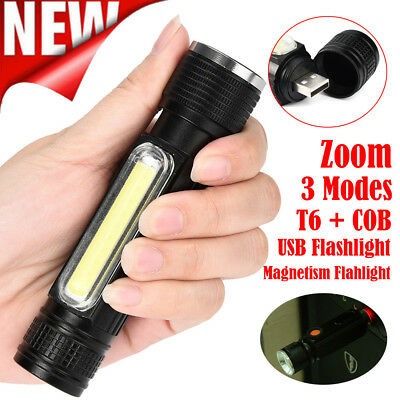 Portable Zoomable 8000LM XML-T6 COB LED USB Rechargeable Flashlight Torch 4 Mode