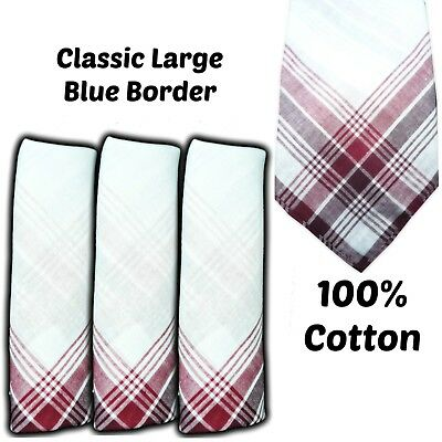 "100% Cotton Handkerchiefs Red Border 16"" 40Cm Men Large Hankies Hanky Burgundy"