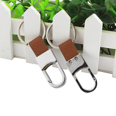 1Pc Metal Leather Simple Men Portable Car-styling Car Key Ring Cover Chain