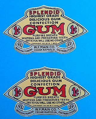 2 X Gum Gumball Vinyl Sticker / Decal Gum Ball Machine Retro Vintage