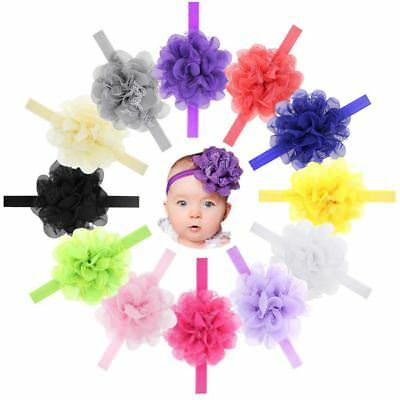 12 PCS/Lot Chiffon Flower Lace Headband Hair Band Bow for Baby Girl Toddlers