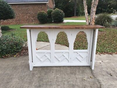 Altar Style Credenza in Distressed White Finish