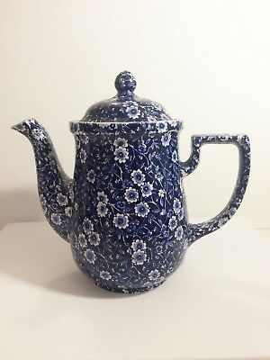 Burleigh Ware Calico Blue & White Staffordshire Large Coffee Pot