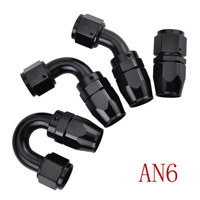 AN-6 6AN Swivel Fuel Line Hose End Fitting Straight Elbow 45/90/180 Degree 4pcs