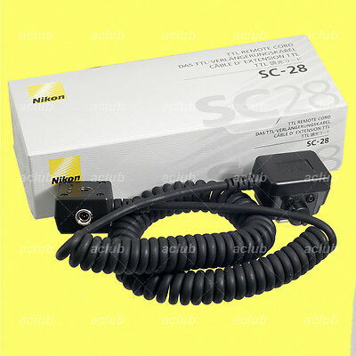Genuine Nikon SC-28 TTL Coiled Remote Cord for SC-27 SC-17 SB-910 SB-900 SB-500