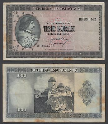 Czechoslovakia 1000 Korun 1945 (F-VF) Condition Banknote P-65a Not Perforated