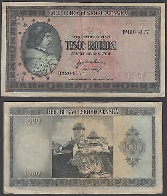 Czechoslovakia 1000 Korun 1945 (F-VF) Condition Banknote KM #65a Not Perforated