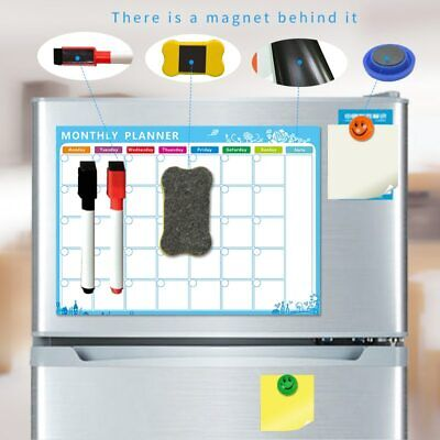 Magnetic Board A3 Monthly Calendar Dry Erase whiteboard Drawing Kitchen Fridge