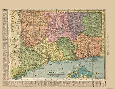 Old State Map - Connecticut - Hammond's Atlas 1910 - 29.72 x 23