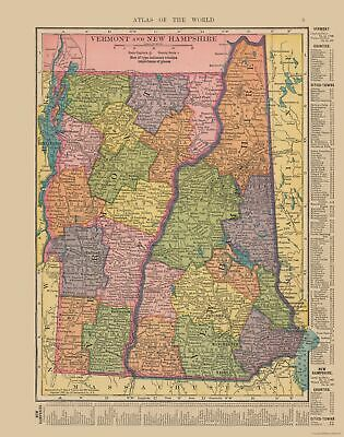 Old State Map - Vermont, New Hampshire - Hammond's Atlas 1910 - 23 x 29.21