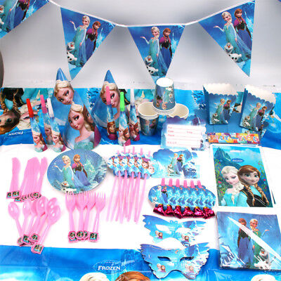 Frozen Birthday Party Elsa Anna Supplies Favor Tableware Girls Decoration Gift