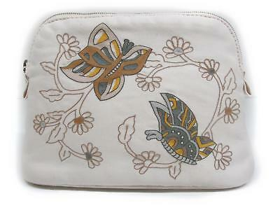 HERMES Boled Pouch Cotton x Embroidery White