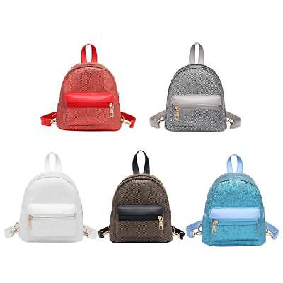 Women Sequins PU Leather Backpacks Shoulder Schoolbag Casual Party Mini Rucksack
