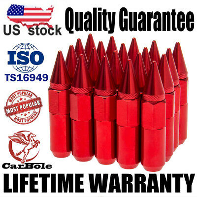 20 Red  M12X1.5 Cap Spiked Extended Tuner 60mm Aluminum Wheels Rims Lug Nuts