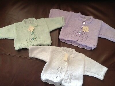 Handknitted baby Girl cardigans 16 Inch Chest 0-3 Months Approx
