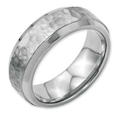 Chisel Wedding Band Ring Hammered Stainless Steel 8mm Beveled Edge Size 8.5
