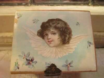 Victorian child's antique sewing box kit with pretty Angel handmade pin cushion