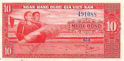 Viet Nam   10  Dong  ND. 1962   P 5a  Series   42-A  Circulated Banknote WKM