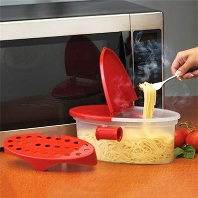 Microwave Pasta Boat Cooker Spaghetti Cooking Box Vegetable Kitchen Gadget A6 FK