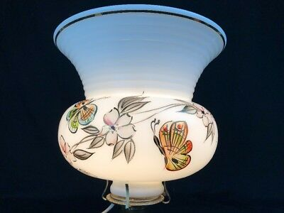 Vintage Milk Glass Painted Butterfly Flower Torchiere Floor Lamp Shade Gold Trim