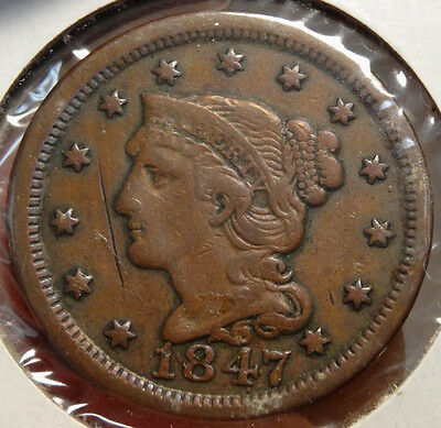 1847 Braided Hair Large Cent, Fine/Very Fine Example For Type  1208-11