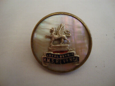 Old vintage antique Royal Navy H.M.S Revenge sweetheart brooch trench art ww1