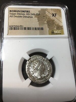 Roman Empire Trajan Decius AD 249-251 AR Double-Denarius Coin (NGC Ancient XF)